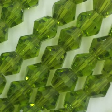 6mm Crystal bicone glass bead - 50 pieces - Olive green 8421